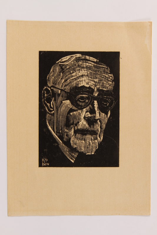 2014.481.2 front Woodcut portrait of Leo Baeck owned by a Jewish Polish girl