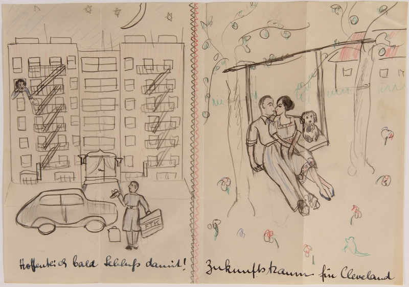 2014.481.3 front Paper sheet with two drawings of a couple being separated and then reconciling