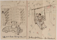 2014.481.3 front Paper sheet with two drawings of a couple being separated and then reconciling  Click to enlarge