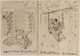 Paper sheet with two drawings of a couple being separated and then reconciling