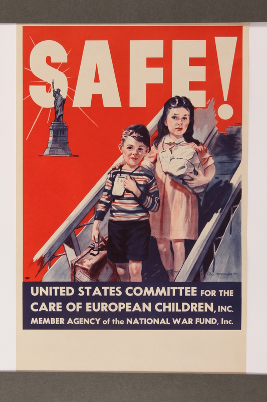 2015.258.1 front Poster of 2 children arriving in the US