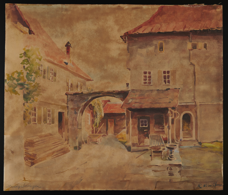 2015.110.2 front Watercolor painting of a courtyard given to an UNRRA official