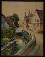 2015.110.4 front Watercolor painting of a street scene given to an UNRRA official  Click to enlarge