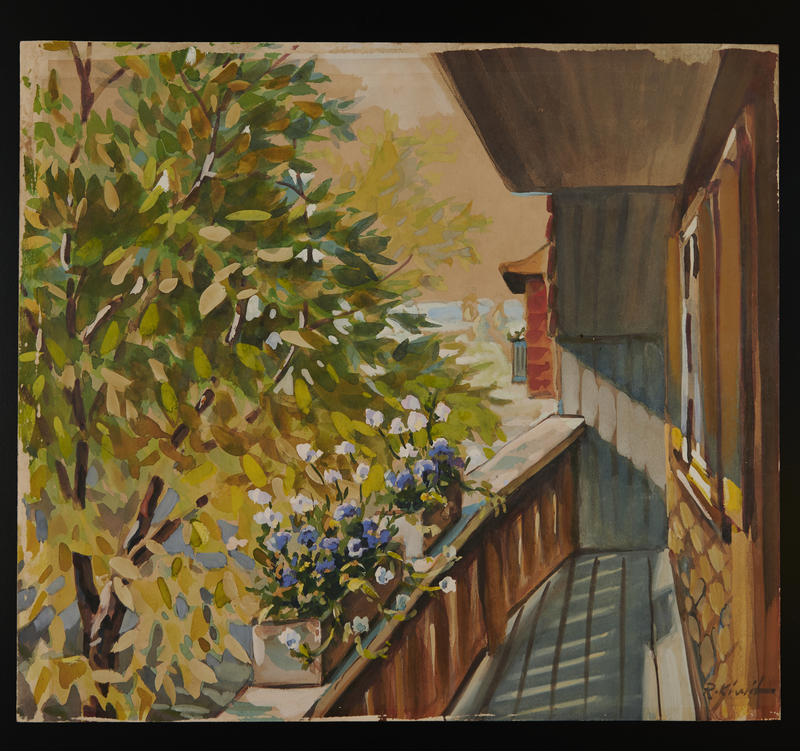 2015.110.10 front Watercolor painting of a children's home given to an UNRRA official