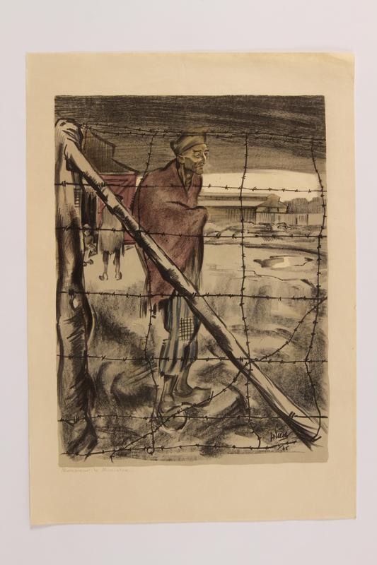 2006.508.1.9 front Henri Pieck: 7 Origineele Kleurenlitho's Van Beelden Uit Het Concentratiekamp Buchenwald