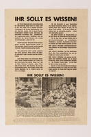 2014.522.3 front US Army poster confronting German civilians with the atrocities at Ohrdruf concentration camp  Click to enlarge
