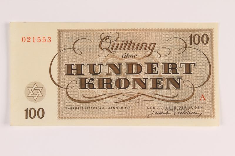 1988.110.1 front Theresienstadt ghetto-labor camp scrip, 100 kronen note
