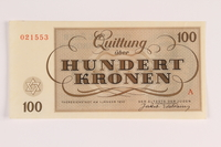1988.110.1 front Theresienstadt ghetto-labor camp scrip, 100 kronen note  Click to enlarge