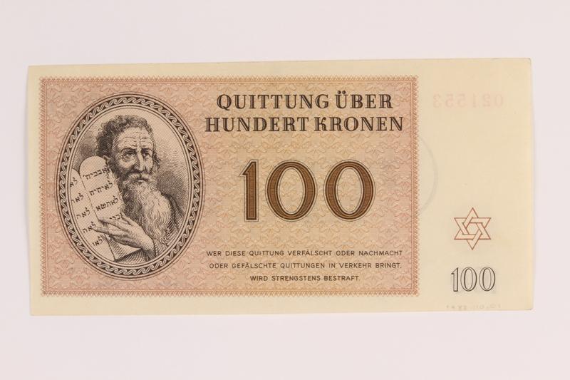1988.110.1 back Theresienstadt ghetto-labor camp scrip, 100 kronen note