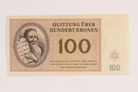 1988.110.1 back Theresienstadt ghetto-labor camp scrip, 100 kronen note  Click to enlarge