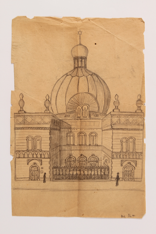 2015.254.6 front Pencil drawing of a synagogue