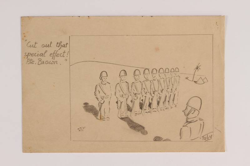 2015.254.7 front Pencil drawing of a soldiers marching in formation