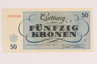 1988.110.2 front Theresienstadt ghetto-labor camp scrip, 50 kronen note  Click to enlarge