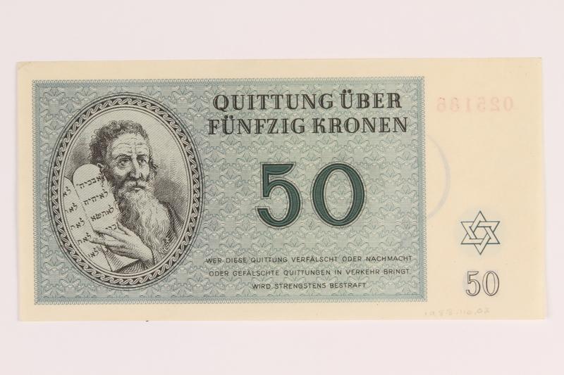 1988.110.2 back Theresienstadt ghetto-labor camp scrip, 50 kronen note