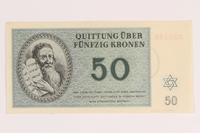 1988.110.2 back Theresienstadt ghetto-labor camp scrip, 50 kronen note  Click to enlarge