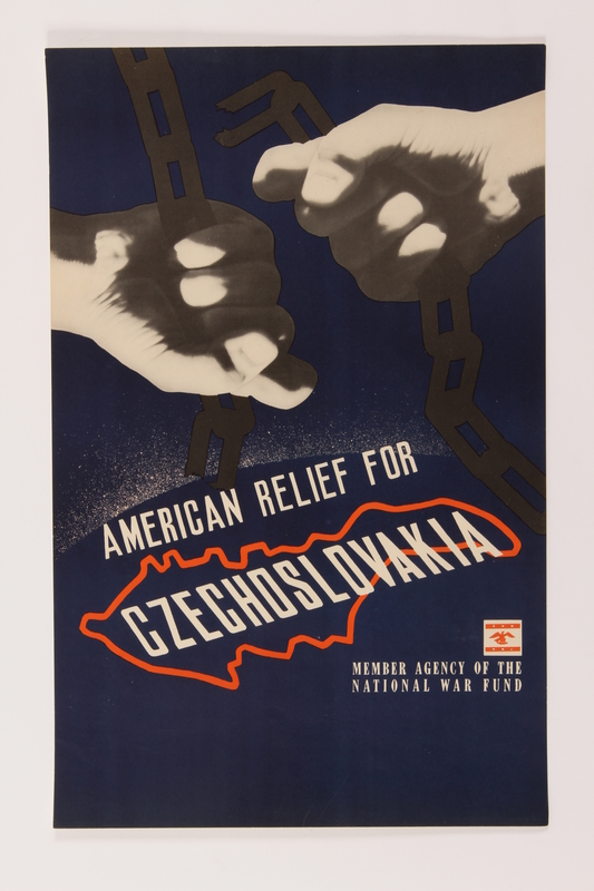 2015.260.3 front Poster of two fists clutching broken chains seeking aid for Czechoslovakia