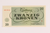 1988.110.3 front Theresienstadt ghetto-labor camp scrip, 20 kronen note  Click to enlarge