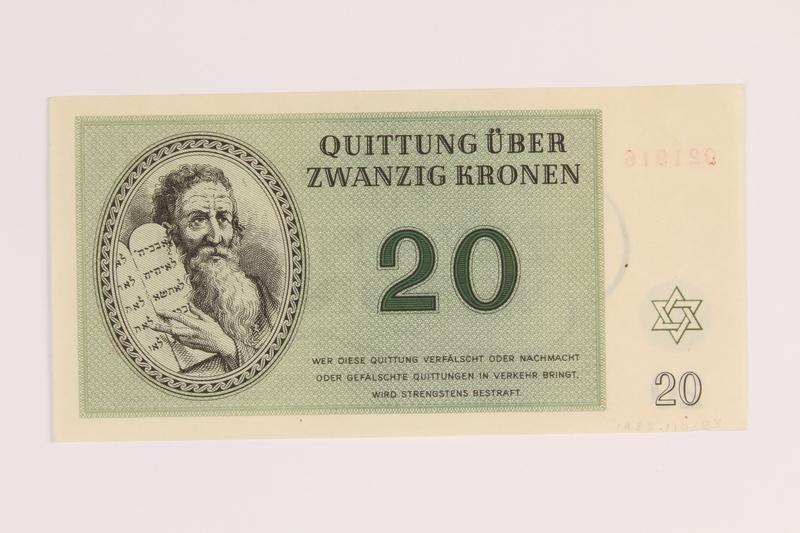 1988.110.3 back Theresienstadt ghetto-labor camp scrip, 20 kronen note