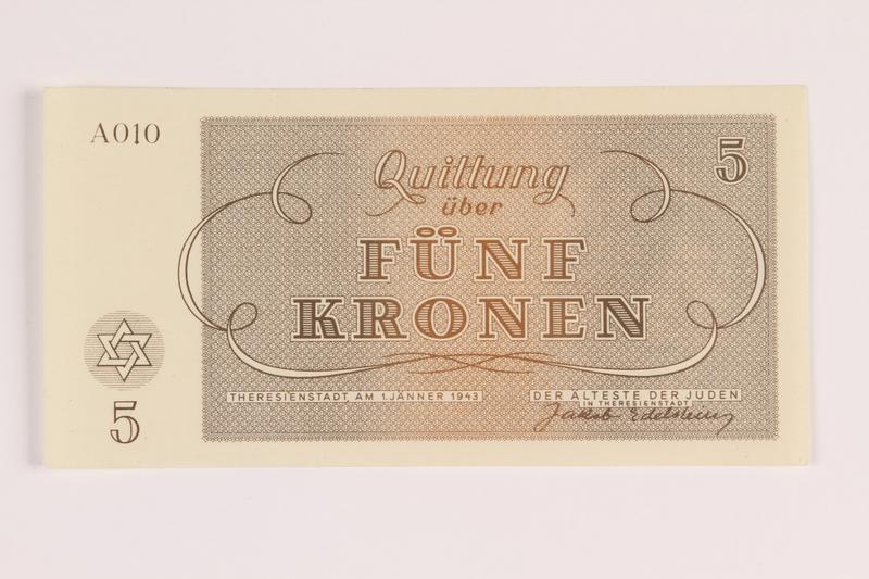 1988.110.4 front Theresienstadt ghetto-labor camp scrip, 5 kronen note