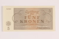 1988.110.4 front Theresienstadt ghetto-labor camp scrip, 5 kronen note  Click to enlarge