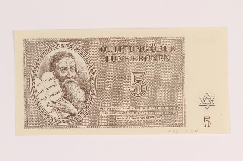 1988.110.4 back Theresienstadt ghetto-labor camp scrip, 5 kronen note