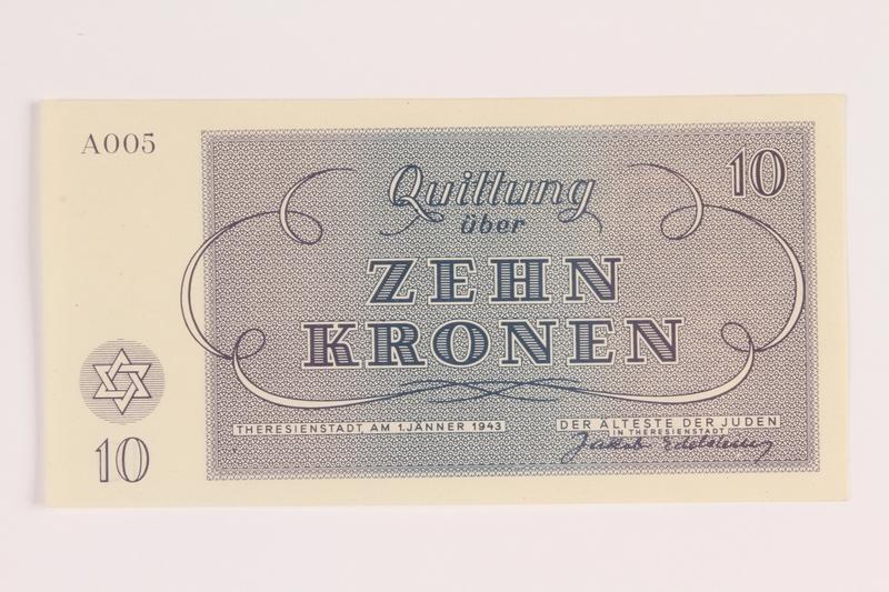 1988.110.7 front Theresienstadt ghetto-labor camp scrip, 10 kronen note