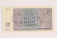 1988.110.7 front Theresienstadt ghetto-labor camp scrip, 10 kronen note  Click to enlarge
