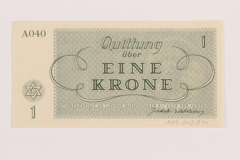 1989.243.54 back Theresienstadt ghetto-labor camp scrip, 1 krone note
