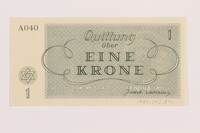 1989.243.54 back Theresienstadt ghetto-labor camp scrip, 1 krone note  Click to enlarge