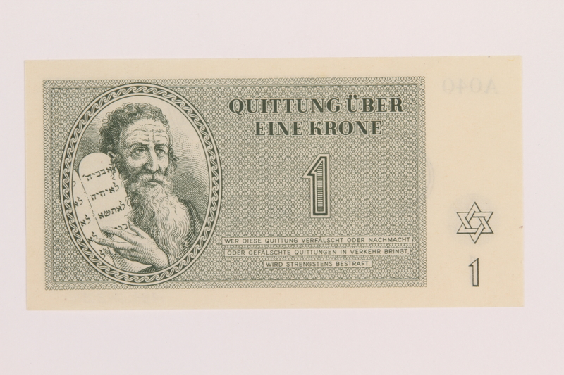 1989.243.54 front Theresienstadt ghetto-labor camp scrip, 1 krone note