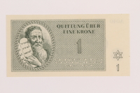1989.243.54 front Theresienstadt ghetto-labor camp scrip, 1 krone note  Click to enlarge