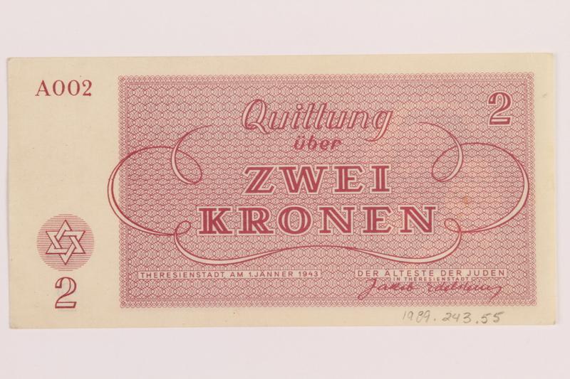1989.243.55 back Theresienstadt ghetto-labor camp scrip, 2 kronen note