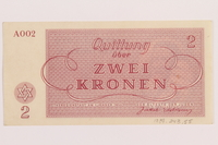 1989.243.55 back Theresienstadt ghetto-labor camp scrip, 2 kronen note  Click to enlarge