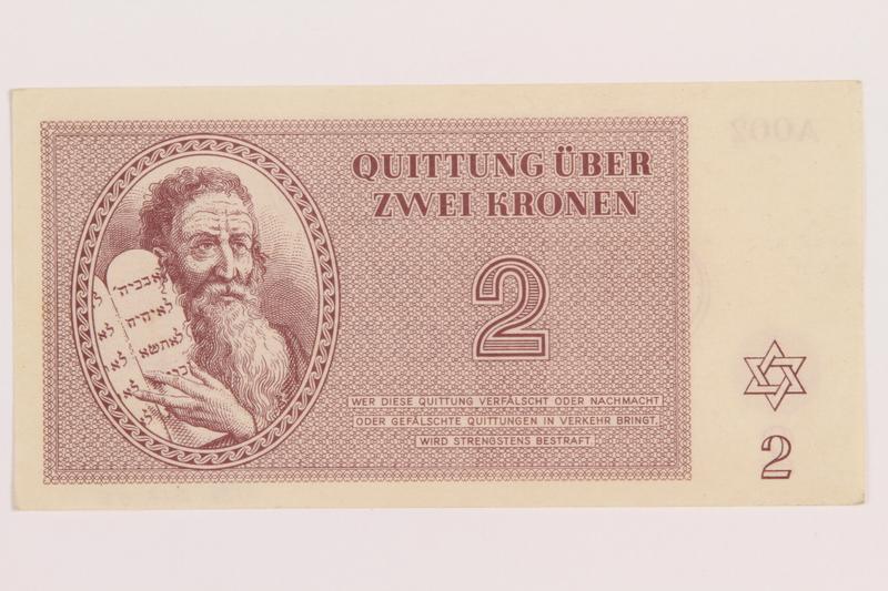 1989.243.55 front Theresienstadt ghetto-labor camp scrip, 2 kronen note