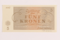1989.243.56 back Theresienstadt ghetto-labor camp scrip, 5 kronen note  Click to enlarge