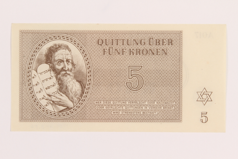 1989.243.56 front Theresienstadt ghetto-labor camp scrip, 5 kronen note