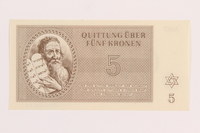 1989.243.56 front Theresienstadt ghetto-labor camp scrip, 5 kronen note  Click to enlarge