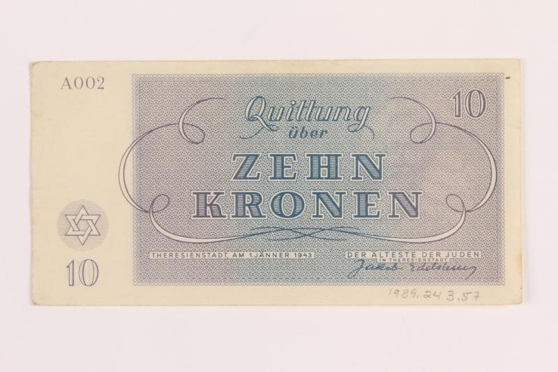 1989.243.57 back Theresienstadt ghetto-labor camp scrip, 10 kronen note