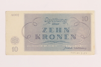 1989.243.57 back Theresienstadt ghetto-labor camp scrip, 10 kronen note  Click to enlarge