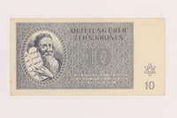 1989.243.57 front Theresienstadt ghetto-labor camp scrip, 10 kronen note  Click to enlarge