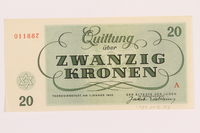 1989.243.58 back Theresienstadt ghetto-labor camp scrip, 20 kronen note  Click to enlarge