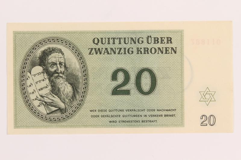 1989.243.58 front Theresienstadt ghetto-labor camp scrip, 20 kronen note