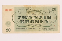 1989.243.59 back Theresienstadt ghetto-labor camp scrip, 20 kronen note  Click to enlarge