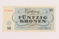 1989.243.60 back Theresienstadt ghetto-labor camp scrip, 50 kronen note  Click to enlarge