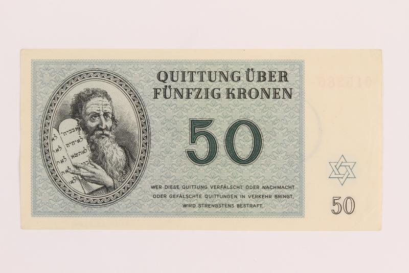 1989.243.60 front Theresienstadt ghetto-labor camp scrip, 50 kronen note