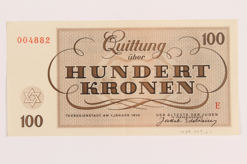 1989.243.61 back Theresienstadt ghetto-labor camp scrip, 100 kronen note, acquired by a Jewish refugee