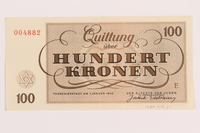 1989.243.61 back Theresienstadt ghetto-labor camp scrip, 100 kronen note  Click to enlarge