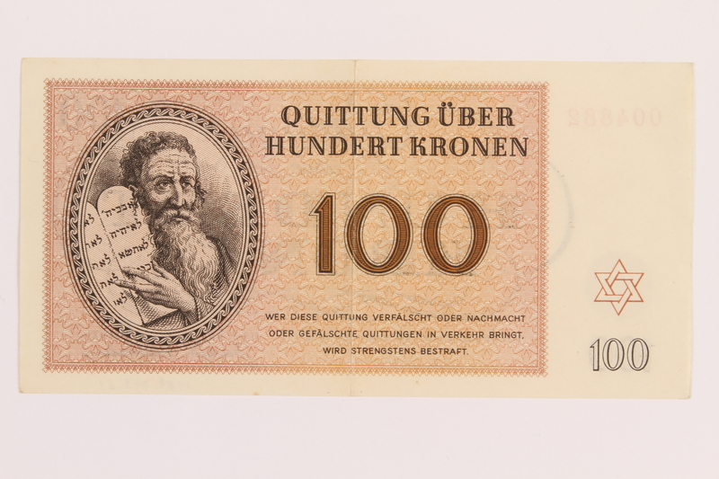 1989.243.61 front Theresienstadt ghetto-labor camp scrip, 100 kronen note, acquired by a Jewish refugee