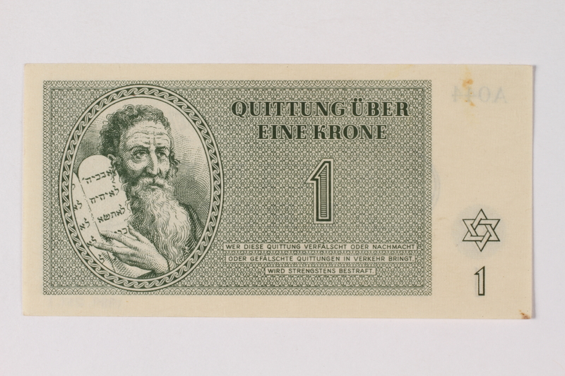 1989.251.1 front Theresienstadt ghetto-labor camp scrip, 1 krone note
