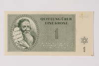 1989.251.1 front Theresienstadt ghetto-labor camp scrip, 1 krone note  Click to enlarge